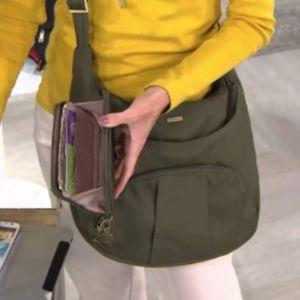 Travelon Gray Hobo Crossbody Purse Bag